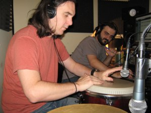 Alex Garcia on congas and J. Armen at the sound board